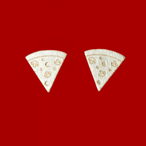 Gold pizza slice earrings