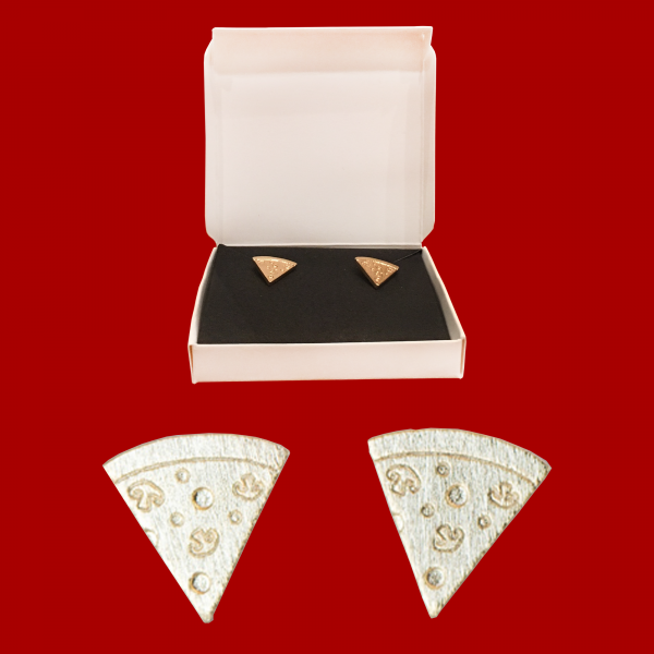 Pizza earrings gold