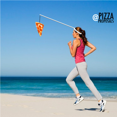 pizza exercise meme - woman running after pizza