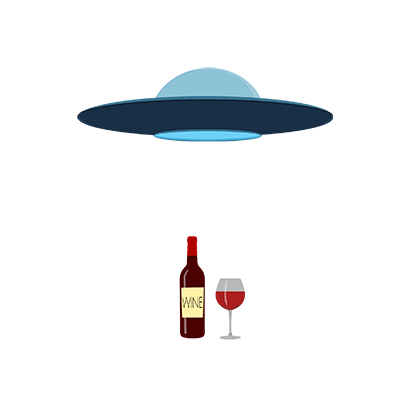 ufo beam up wine animation