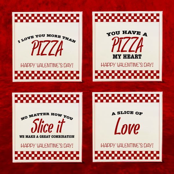 Funny pizza Valentine's Day cards with pizza puns